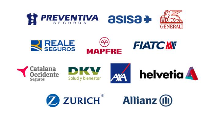 logos de las aseguradoras: preventia seguros, asisa, generali, reale seguros, mapfre, fiatc, catalana occidente, DKV, Axa, Helvetia, Zurich y Allianz